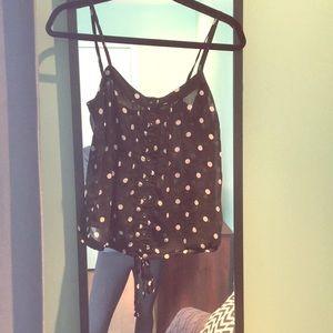 Sheer black cami XS with white polka dots